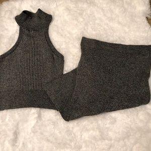 Ribbed skirt and turtleneck set